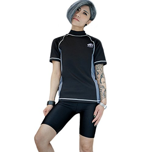BaronHong Frauen Lesben Tomboy Zip Up Brust Ärmel Schnell trocknend Bademode Set Top + Schwimmen Hosen (schwarz, S) (Frauen Bademode Tops)
