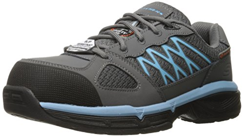 Skechers Work Womens Conroe Kriel Slip Resistant Shoe Gray/Blue
