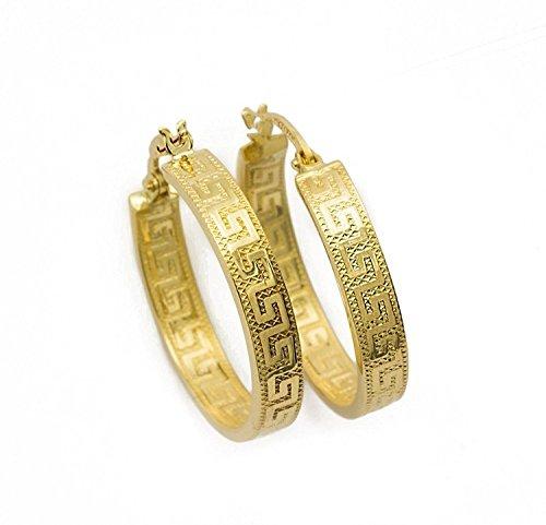 Griechische Schlüssel Ohrringe Creolen aus 18 Karat 750 Gelbgold Diamantiert (2.7 x 20 Ø mm) - PRI28