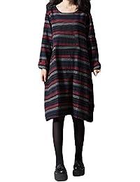 FeiXiang Robe Femmes Coton rayé et Lin Robe Longue à Manches Longues Robe  en Coton et 1b2c1638bdc8