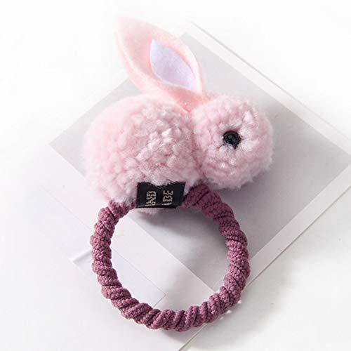 ljym88 Haarband Party n Haarschmuck Bobbles Niedlichen Tier Mode Kinder Elastische Pferdeschwanz Inhaber Fühlte üsch Kaninchen Kinder Mädchen Krawatten(Pink)