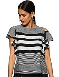 6480876138b Miss Chase Womens Black and White Striped Cold Shoulder Top