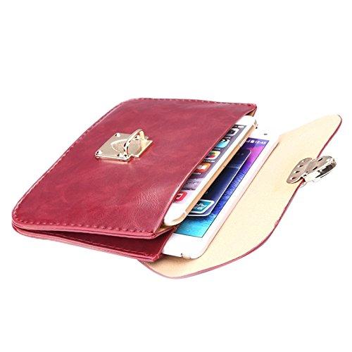Phone case & Hülle Für iPhone 6 Plus / 6S Plus, Universal Crazy Horse Texture Horizontale Drei-Layer-Multifunktions-Leder Schultertasche ( Color : Brown ) Red
