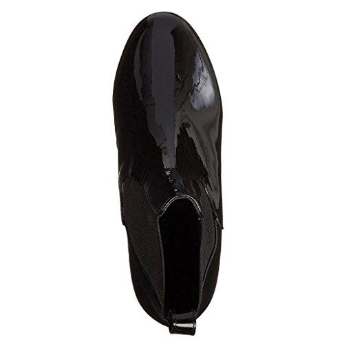 Stivaletti impermeabili delle caviglie degli alti talloni delle donne Autunno Inverno Booties Mostra gli stivali Caricamenti del posto di lavoro Stivali a caviglia fatti a mano Cuoio luminoso 8010FD , BLACK-41