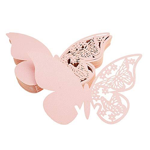 FLOWOW 100x Farfalla Decorazioni Perlato Rosa segna Posto segnaposto segnatavolo segnabicchiere bomboniera per Matrimonio Compleanno Nascita Laurea Festa Natale segna posti segnaposti