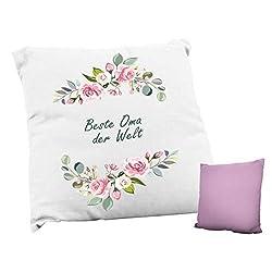 True Statements Kissen Beste Oma der Welt - ideales Geschenk, rückseite rosa