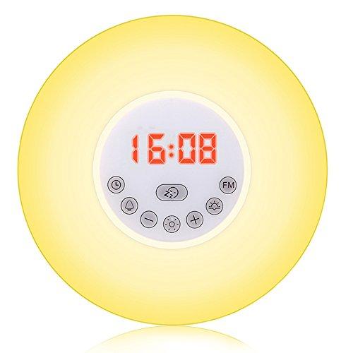 Reloj despertador con lámpara, modo de simulación de amanecer y atardecer, función de repetición y luces de diferentes colores; 6 sonidos naturales, varios modos de luz y control táctil