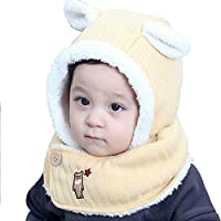 Ice-Beauty-ukzy Baby Hat And Scarf Set, Baby Hat And Scarf Set For Boys Winter Toddler Hat And Scarf Set Earflap Girls Baby Hat Knit Scarf Set Suitable For About 6-24 Monthsbeige