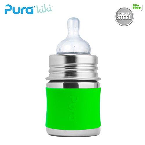 Pura Kiki Trinkflasche - 150ml - Weithalssauger (inkl. Schutzkappe) Pura Farbe/Design Blank + Grüner Überzug