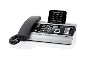 Gigaset DX800A Komfort Telefon - Schnurgebundes Telefon / Schnurtelefon -  Anrufbeantworter - Farbdisplay - Freisprechen / Dect Telefon - Schwarz/Silber