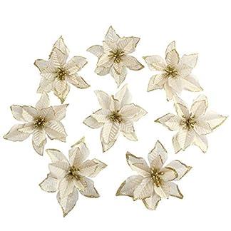 AmandaJ Paquete de 10 Flores de Flor de Pascua de Seda Artificial con Purpurina Adornos para árboles de Navidad Diámetro de 5.5 »
