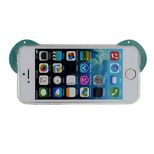 iPhone SE Ultra Mince Fine Doux TPU Silicone Transparente Charmant Panda Forme Serie Anti choc Coque Case Etui Protection pour iPhone 5 5S SE Avec 1 stylet bleu