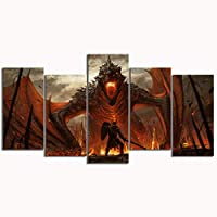 ZYUN 5 Piezas Ilustraciones Pared Arte Dragón De Juego De Tronos HD Print Lona Fantasía Pintura Mural Sala Decoración del Hogar,B,30×40x2+30×60x2+30x80×1
