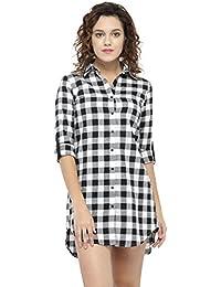 6da2f288b37267 Hive91 Long Shirt for Women in Black Color Cotton Fabric Fold Up Sleeve  Casual Shirt