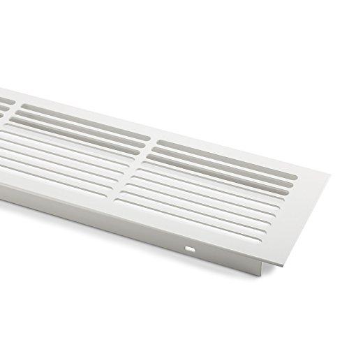 2 x SO-TECH® Lüftungsgitter Aluminium 500 x 86 mm Stegblech Gitter weiß lackiert -
