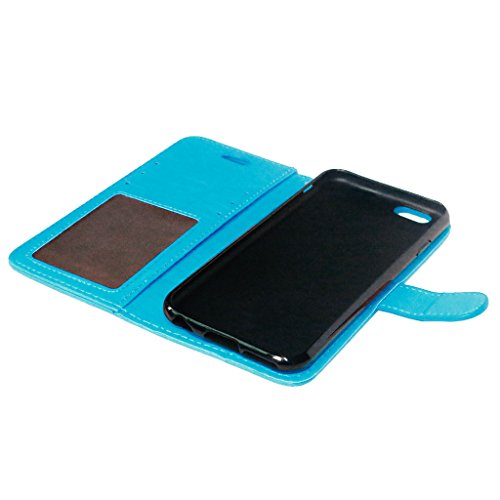 FUBAODA PU Cuir Folio iPhone 6s Case Coque Etui Étui Portefeuille Case Cover [Syncwire Câble Gratuit] Wallet avec Stand support Housse de Protection pour Apple iphone 6 6s (rose) Blue