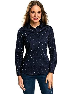 oodji Ultra Mujer Camisa con Bolsillos en el Pecho y Acabado en Contraste