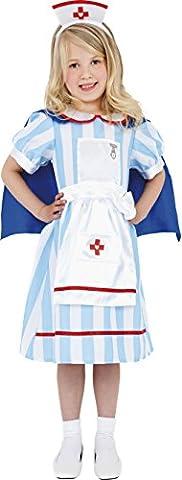 Smiffys Kinder Traditionelle Schwester Kostüm, Kleid mit Umhang und Haube, Größe: S, 38646 (Mad Krankenschwester Halloween Kostüm)