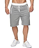 Short Homme Short pour Homme Sport Jogging et d'entraînement Fitness Pantalon Court Jogging Pantalon Bermuda Pochette de Rangement pour Fermeture Éclair (Gris clair, L)