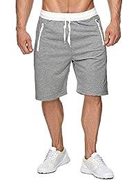 Short Homme Short Homme Sport Jogging d'entraînement Fitness Pantalon Court Jogging Pantalon Bermuda Pochette de Rangement Fermeture Éclair