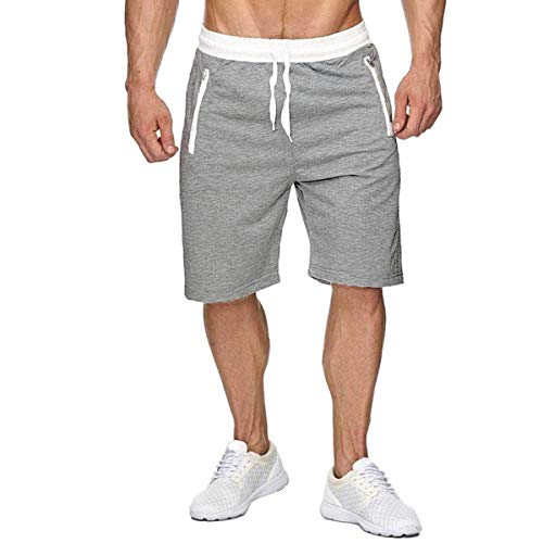 CHYU Herren Sport Joggen und Training Shorts Fitness Kurze Hose Jogging Hose Bermuda Reißverschlusstasch (L, Hellgrau)