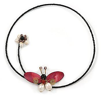 Shell Butterfly & Freshwater Pearl Flower Flex Wire Choker Necklace - Adjustable 8