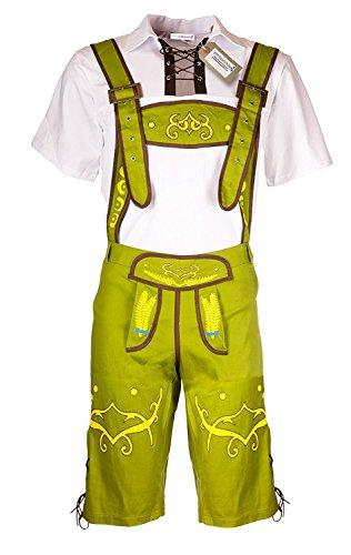 Herren Trachten Hose Oktoberfest Kostüm von Emma's Wardrobe – komplett-Set, Outfit mit Hemd und Hosenträgern, Kleidung für z.B. Fasching, Karneval, Party oder Wiesn, weiß grün (Large, Grun)
