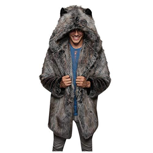 Manteau Fausse Fourrure Homme Hiver Chaud ÉPais Manche Longues Faux Fur Parka Veste A Capuche Grande Taille Cardigan Pardessus