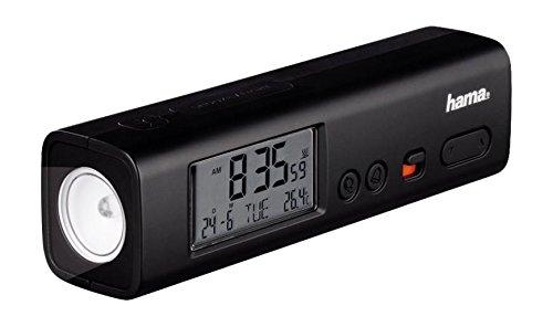 Preisvergleich Produktbild Hama Wecker Taschenlampe (digitaler Reisewecker mit DCF Funkuhr,  LED Taschenlampe und Temperaturanzeige,  Snooze Funktion) schwarz
