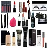 VKS COMBO: kit set of 19 red edition makeup kit foundation cocealer makeup fixer spray matte lipstick (19 Items in the set)