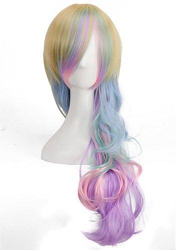 jiayy Regenbogen Farben Perücken Wellenlänge Süßigkeiten kawaill Rayon der mode Lolita langen Körper Perücken, ()
