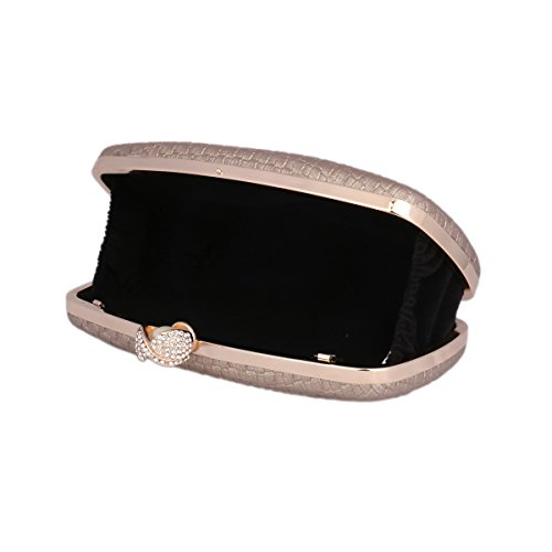 Damara® Ladies Clutch Rettangolo Moda Artificiale Perla Borsa Da Sera Realizzata In Pelle Artificiale Argento
