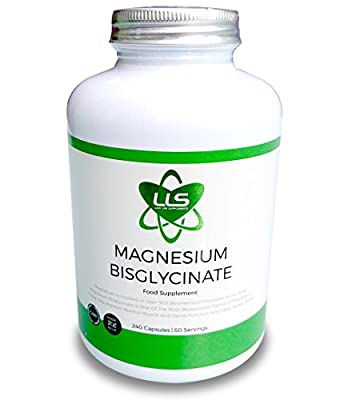 LLS Magnesium Bisglycinate (Chelated) | ** BLACK FRIDAY PROMOTION - 20% OFF - USE CODE BLCKFR20 ** | 2500mg (250mg Magnesium) | 240 Capsules / 60 Servings | Highly Bioavailable Form of Magnesium | Produced in the UK Under GMP Licence | Love Life Supplemen