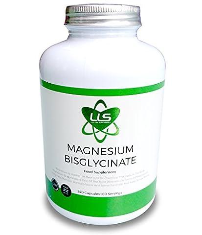 LLS Magnésium Bisglycinate chélaté   2500 mg (250 mg de magnésium)   240 Capsules / 60 Portions   Forme hautement biodisponible de magnésium   Produit sous licence UK/ GMP   Love Life Supplements -