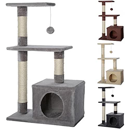regalos kawaii gato Dibea KB00253 Árbol Rascador para Gatos, Escalador, Altura 80 cm, Color Gris Claro