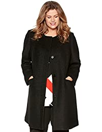 M&Co Ladies Plus Size Plain Wool Blend Long Sleeve Boucle Collarless Coat