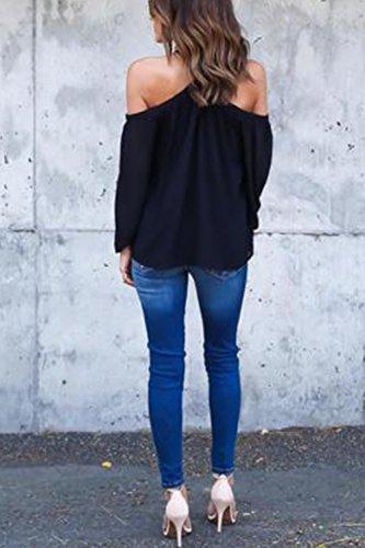 YACUN Damen Unregelmäßige Trägerlose Chiffon Tops T-Shirt Blusen Black