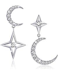 ca0dcb1f054c SIMPLOVE Pendientes de Plata de Ley 925 Estrella CZ Star Moon para mujeres  Pendientes Asimétricos Brillantes
