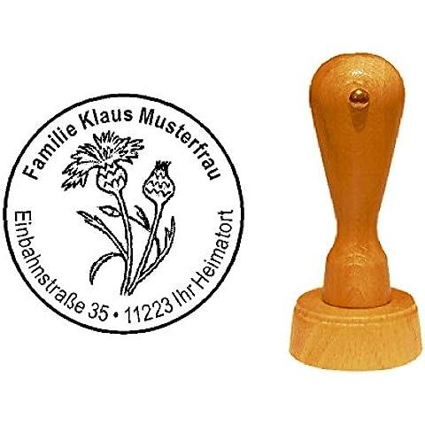 Sello sellos de madera diseño sello « grano flor » con Personal–Floristas de direcciones Gärtner Jardín gärtnerei Planta