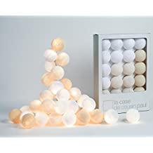 Lichterkette Uyuni mit 20 Lampions, La Case de Cousin Paul Fairy Lights, Cotton Ball Lichtkugeln
