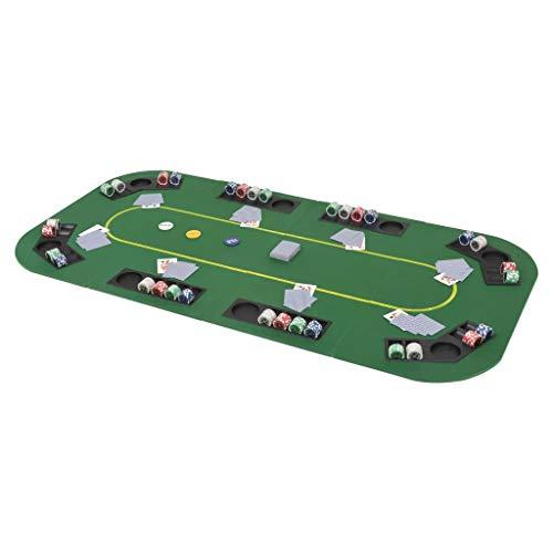 SOULONG Tavolo da Poker Pieghevole Piano da Poker per 8 Giocatori Tappeto da Poker da Gioco Professionale Copritavolo da Poker Rettangolare Verde 160