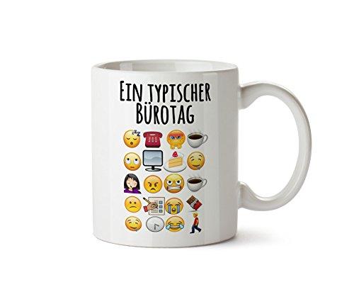 True Statements TasseEin typischer Büroalltag - lustige Emoticon Kaffeetasse, Kaffeebecher, das...