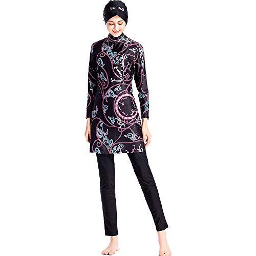 Grsafety Damen Muslimischen Badeanzug - 3 Teilige Sets Islamischen Full Cover Bademode Bescheidene Badebekleidung Swimwear Burkini Frauen, Braun, 2XL
