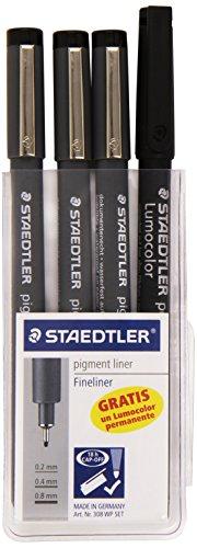 Staedtler 308 WP3 SP – Rotuladores calibrados, 3 unidades +1 lumocolor permanente
