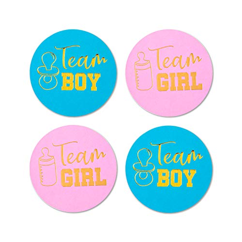 SAVITA Geschlecht Aufkleber(96stck)| Gender Reveal Partybedarf | Goldgeschlecht offenbaren Aufkleber | Team Boy und Team Girl Babyparty