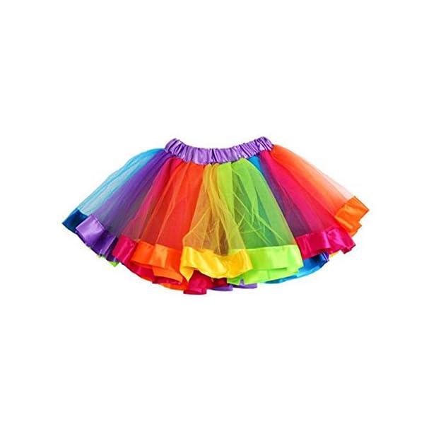 PinkLu Falda De Malla De Arco Iris De Siete Colores NiñAs NiñOs Enagua Arco Iris Pettiskirt Falda Bowknot Vestido Tutu… 2