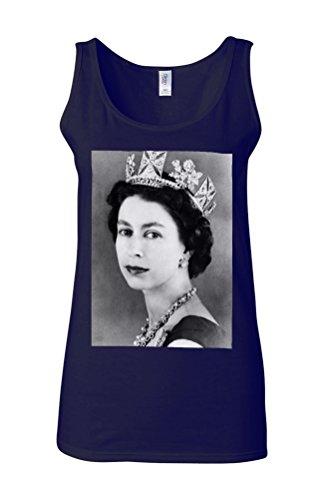 Her Majesty the Queen Elizabeth II Novelty White Femme Women Tricot de Corps Tank Top Vest Bleu Foncé