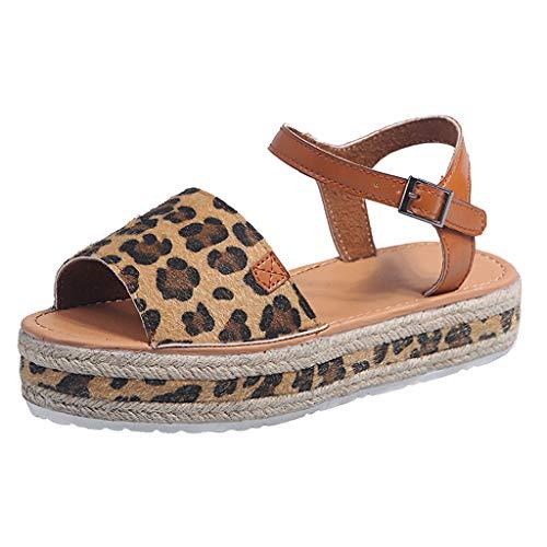 PAOLIAN Sandalias Mujer Plataforma Verano 2020 Zapatos Mujer Tacon Baja Elegantes Alpargatas Leopardo...