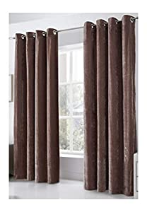Venice Beige Deep Pile Velvet 58x72 Ring Top Fully Lined Curtains #tevlev *as* from PCJ Supplies