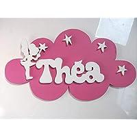plaque de porte fée prénom en bois nuage personnalisé
